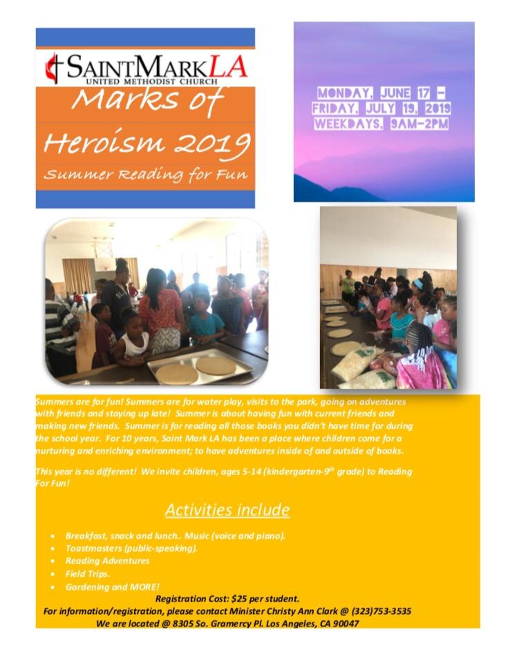 Marks of Heroism Summer Enrichment Program Brochure