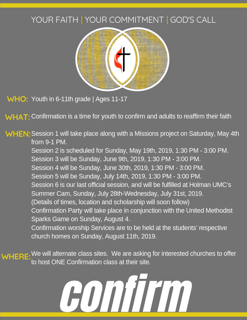 Confirmation Experience Announcement